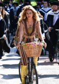Lily James on set of 'Mamma Mia - Here We Go Again' in England