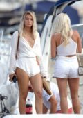 Louisa Johnson joins some friends on a Yacht in Ibiza, Spain