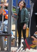 Lucy Hale on set filming for 'Life Unexpected' in Burnaby, British Columbia, Canada