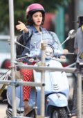 Lucy Hale rides a Vespa on the Set of 'Life Sentence' in Vancouver, Canada