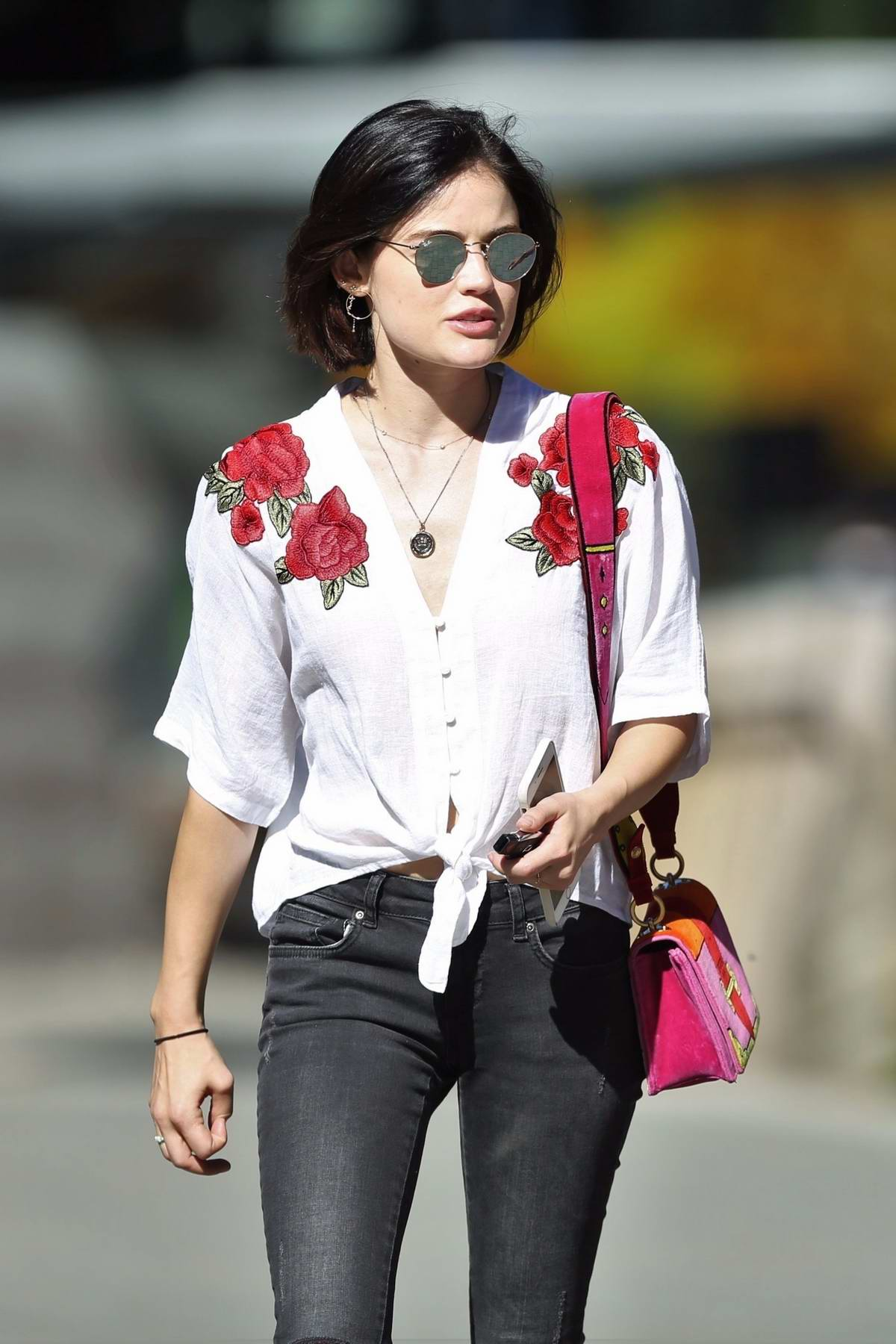Lucy Hale taking a walk in Vancouver, Canada