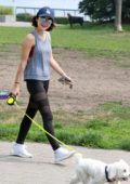 Lucy Hale walks her dog along the Seawall after a Cycle class in Vancouver, Canada