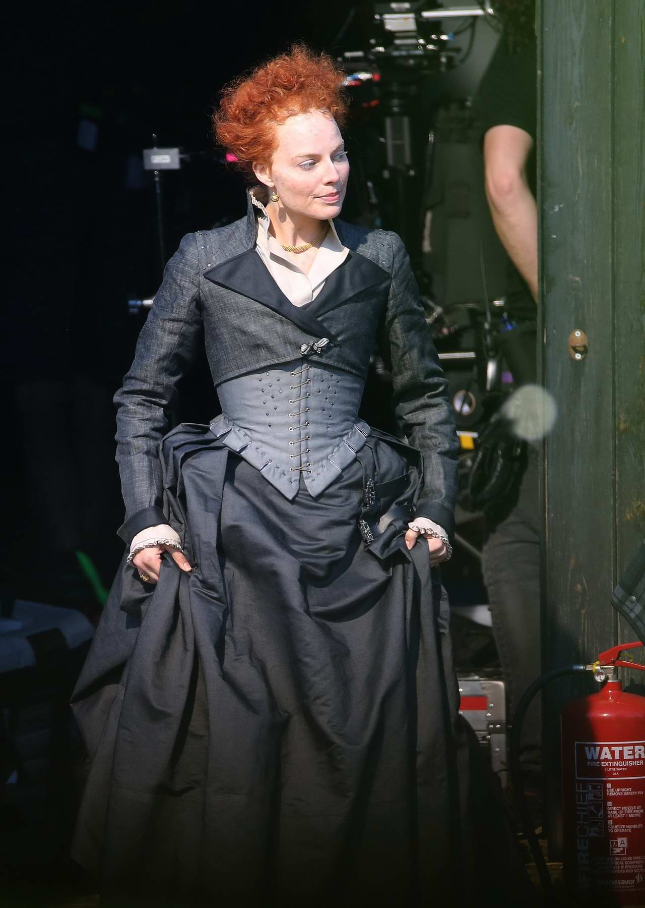 Margot Robbie looks completely unrecognisable as she transforms into Queen Elizabeth I for new film Mary Queen of Scots in Goldthorpe, UK