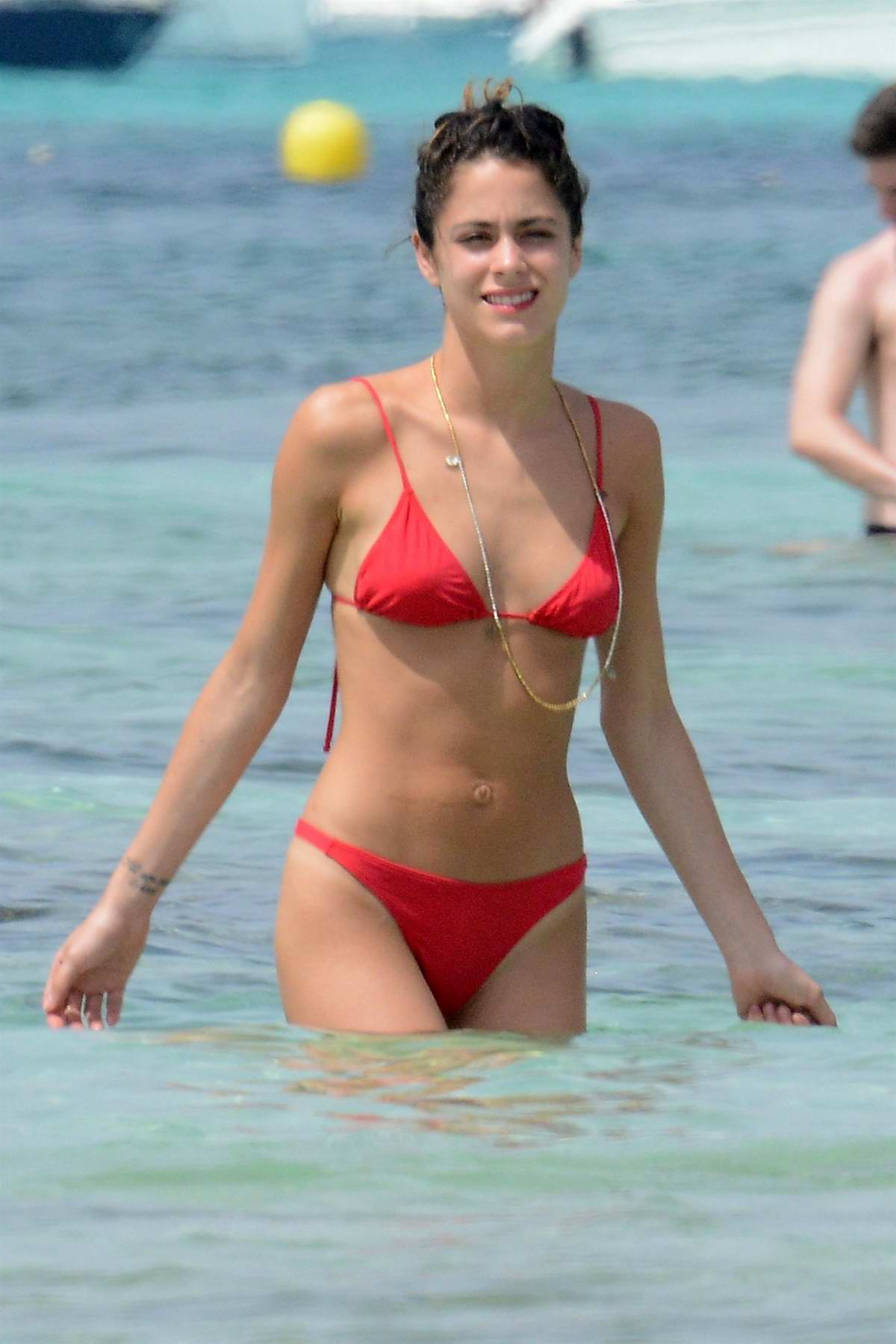 Martina Stoessel in a Red Bikini with Pepe Barroso on the Beach in Fomentera, Spain