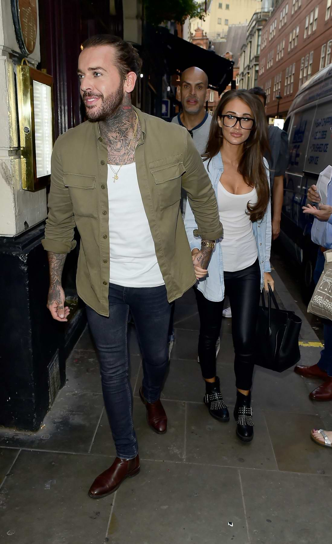 Megan McKenna and Pete Wicks going to Piccadilly Theatre to watch Annie in London