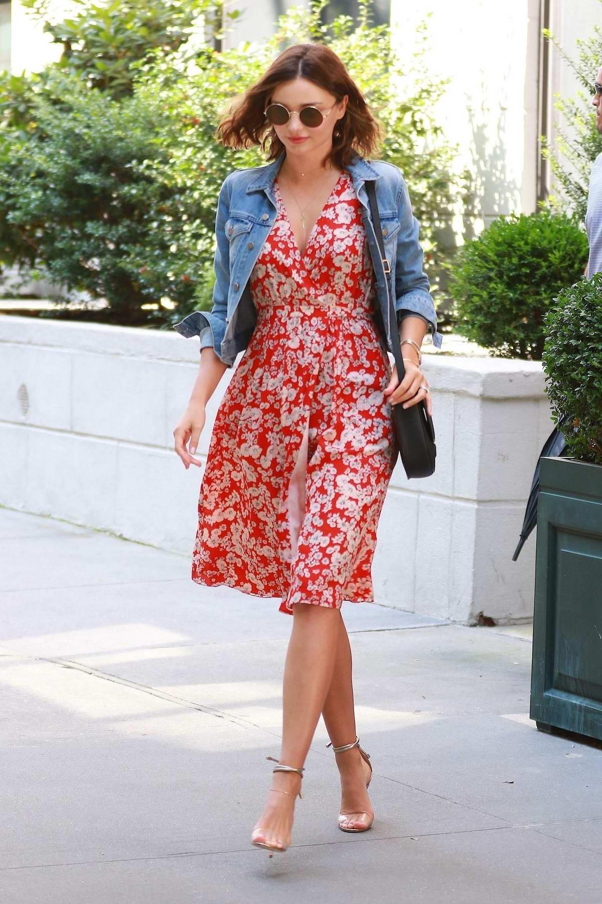 Miranda Kerr in a Summer dress out running errands in New York