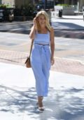 Mollie King is dressed very Summery as she goes for a meeting in the Isle of Dogs, London