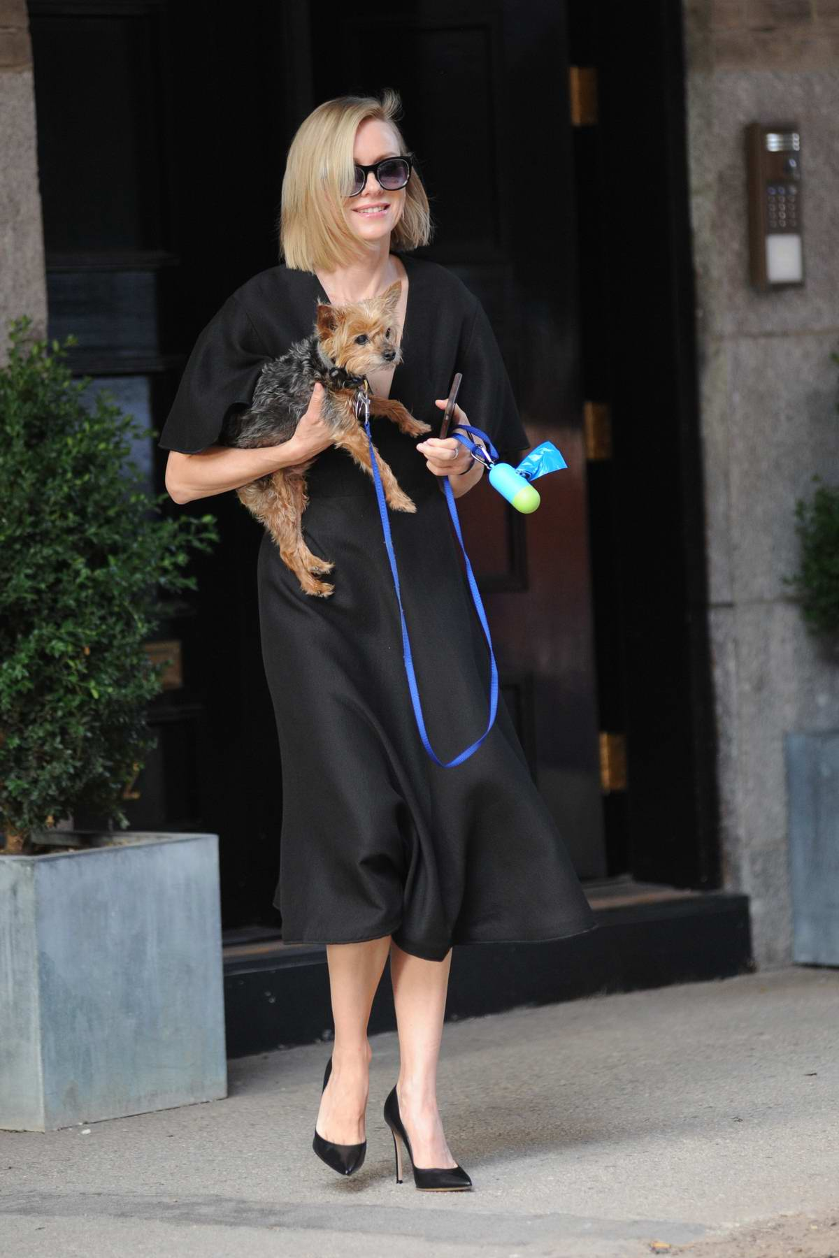 Naomi Watts is seen leaving her Apartment with her Dog in New York