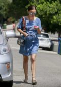 Natalie Portman dressed in denim leaving an event in Los Angeles