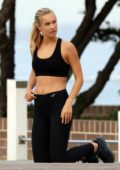 Nathalie Darcas on a photo shoot for Gym Wear