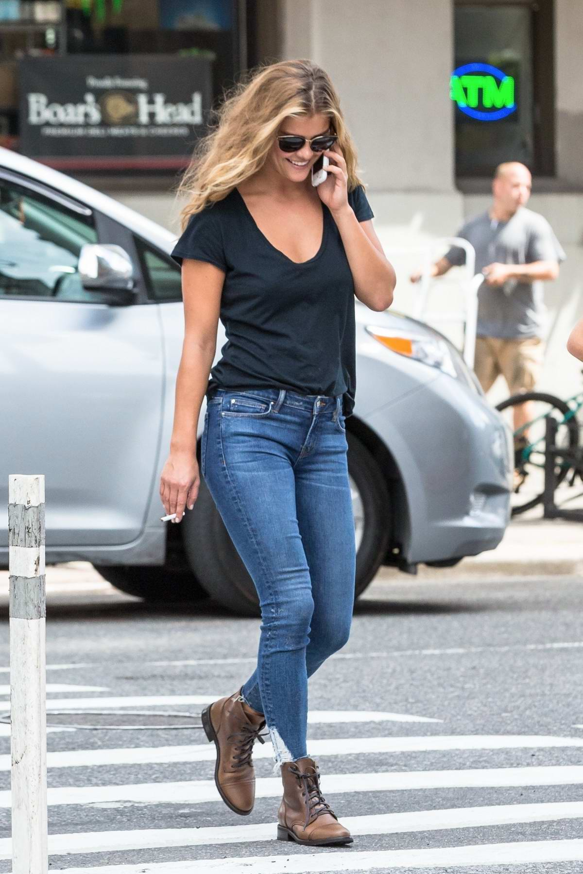 Nina Agdal out for lunch with friends at Cipriani in Soho New York