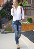 Nina Agdal running errands in New York