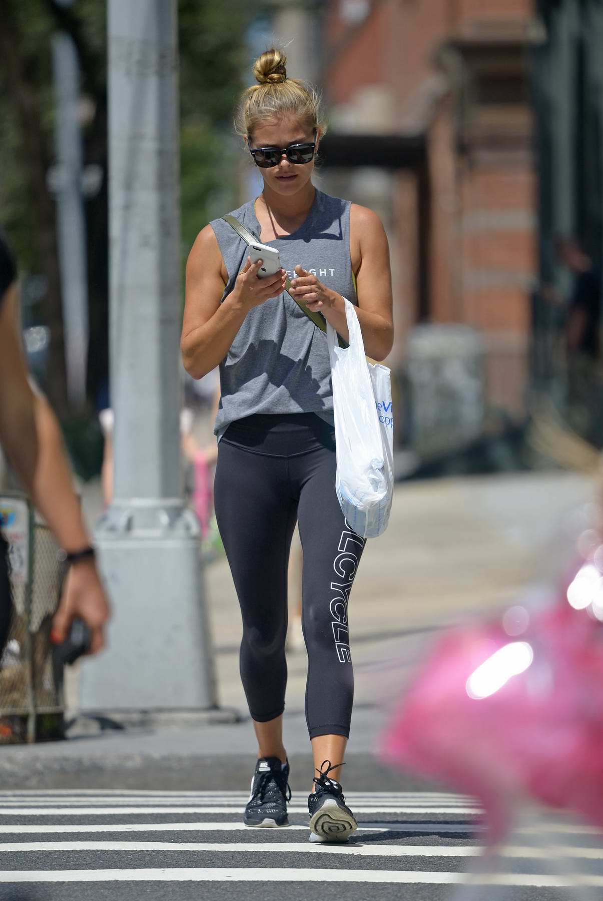 Nina Agdal spotted buying groceries after workout in Tribeca, New York