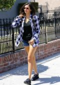 Nina Dobrev in Blue Plaid shirt and Denim shorts spotted running errand in Los Feliz, California