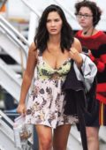 Olivia Munn in a Low-cut Floral print dress while on the set of 'Buddy Games' filming in Vancouver, Canada