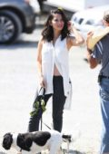 Olivia Munn takes her dogs for a walk in between filming scenes for Buddy Games in Vancouver, Canada