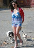 Olivia Munn walks her dogs in Burnaby, British Columbia, Canada