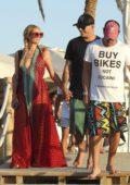 Paris Hilton and boyfriend Chris Zylka are seen having lunch in Formentera, Spain