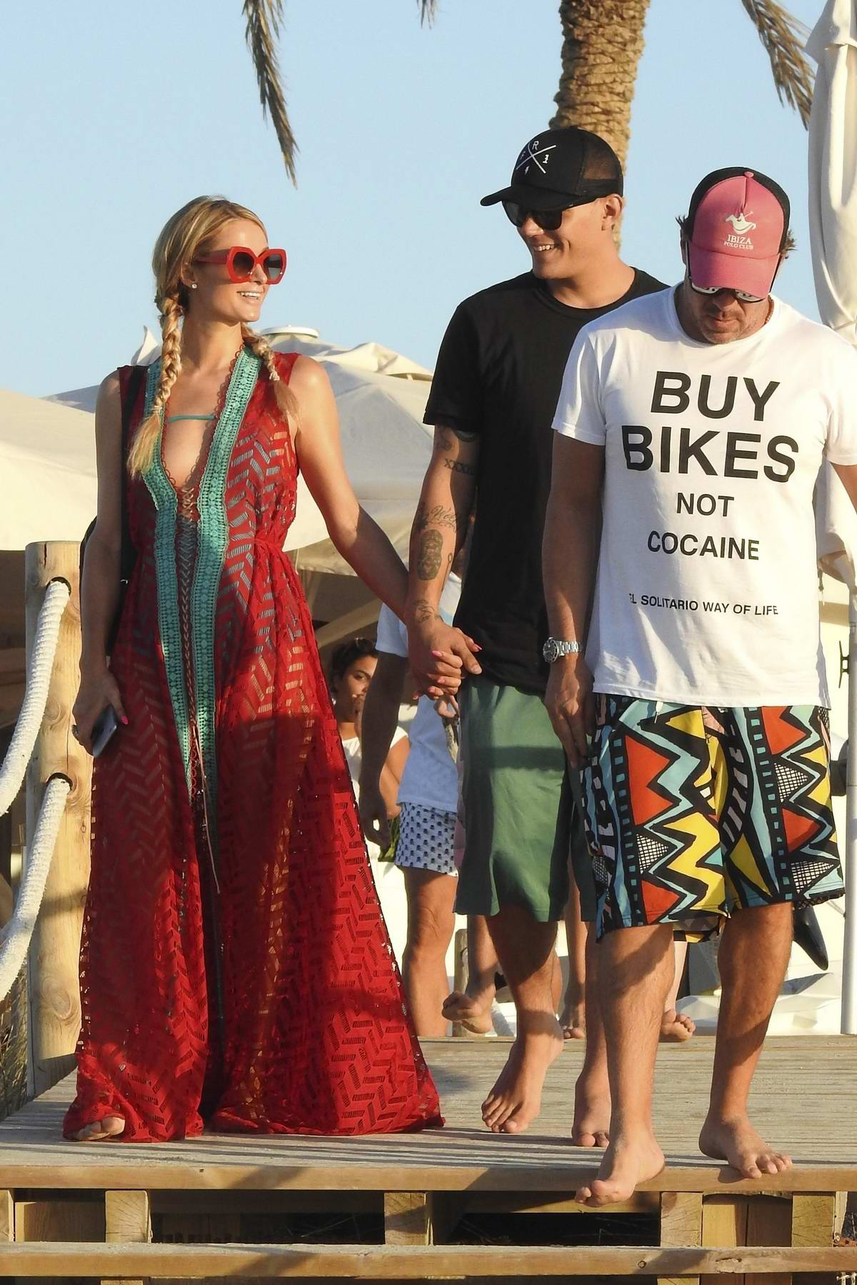 Paris Hilton and boyfriend Chris Zylka are seen having lunch in Formentera, Spain