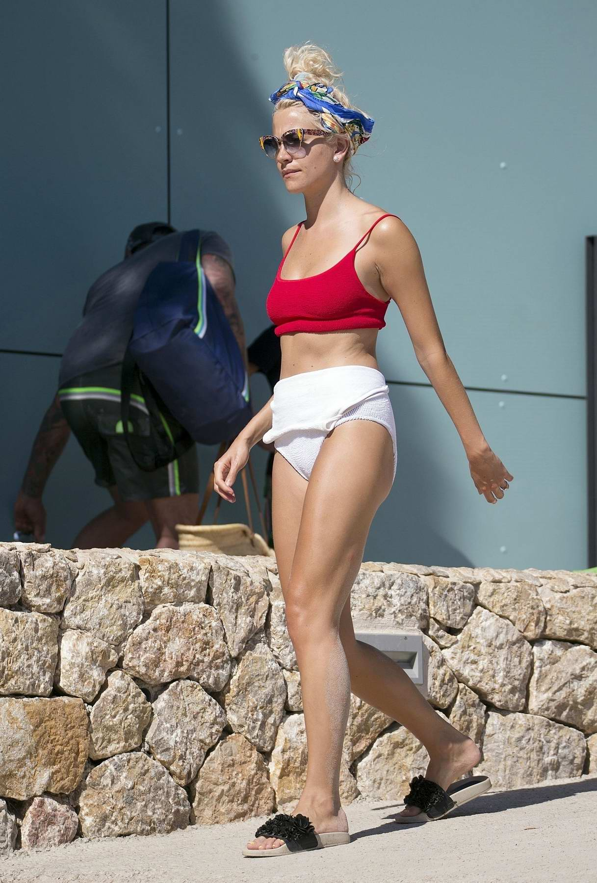 Pixie Lott in a red and white bikini at the beach in Mallorca, Spain