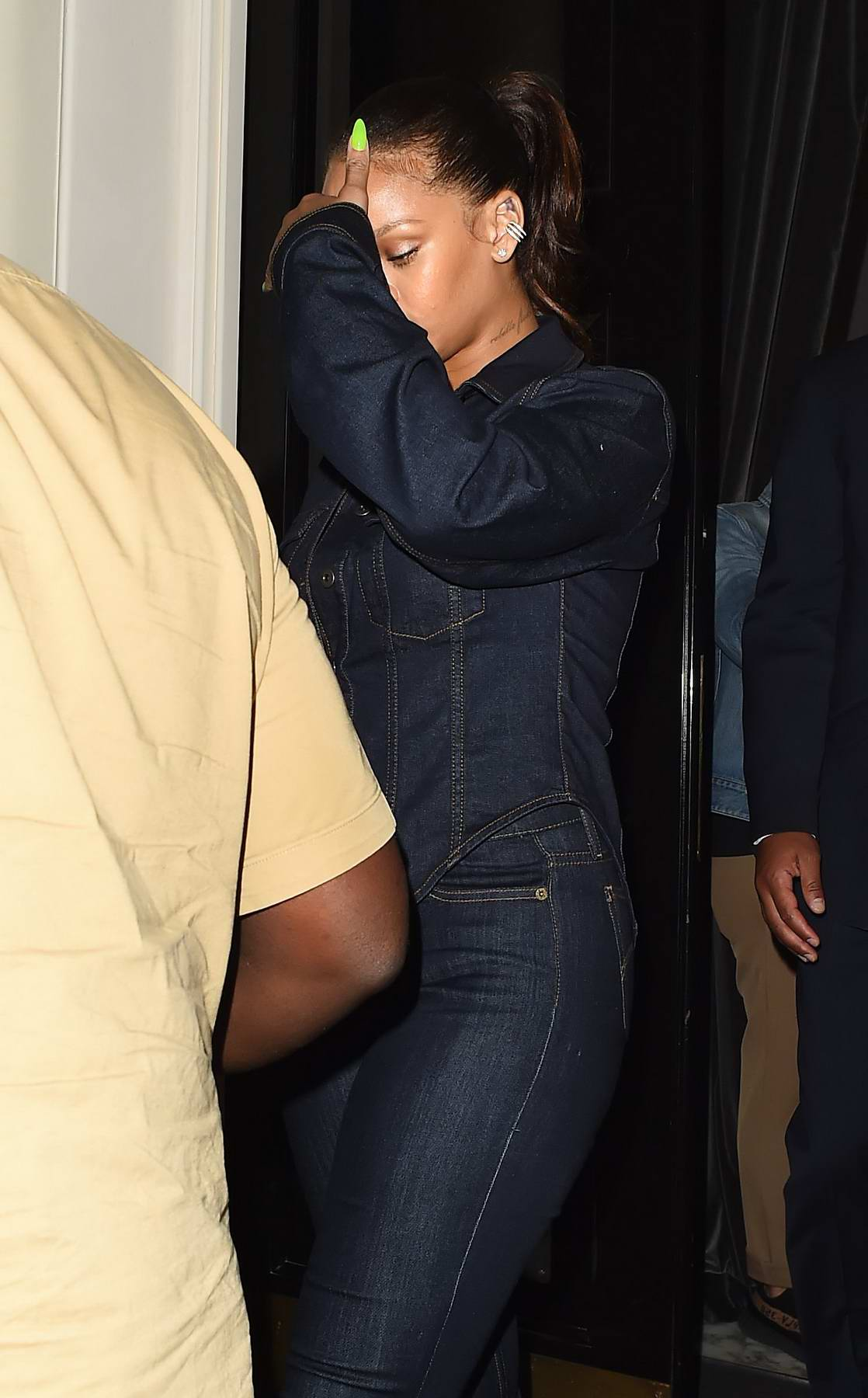 Rihanna dressed in all denim leaving her hotel in London