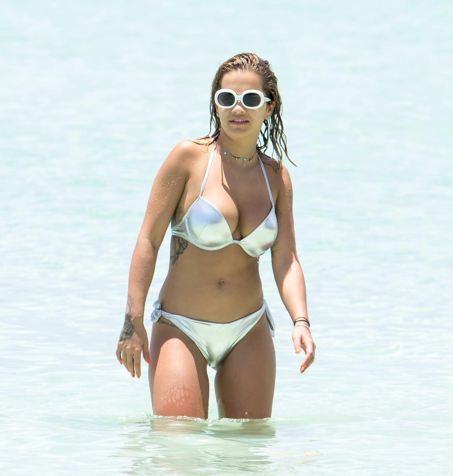 Rita Ora in a Silver Bikini at the Negril Seven Mile Beach with Friends in Jamaica