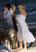 Scarlett Johansson enjoys dinner with Friends in Platys Gialos, Greece