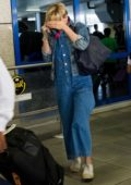 Scarlett Johansson is spotted arriving on a flight in Athens, Greece