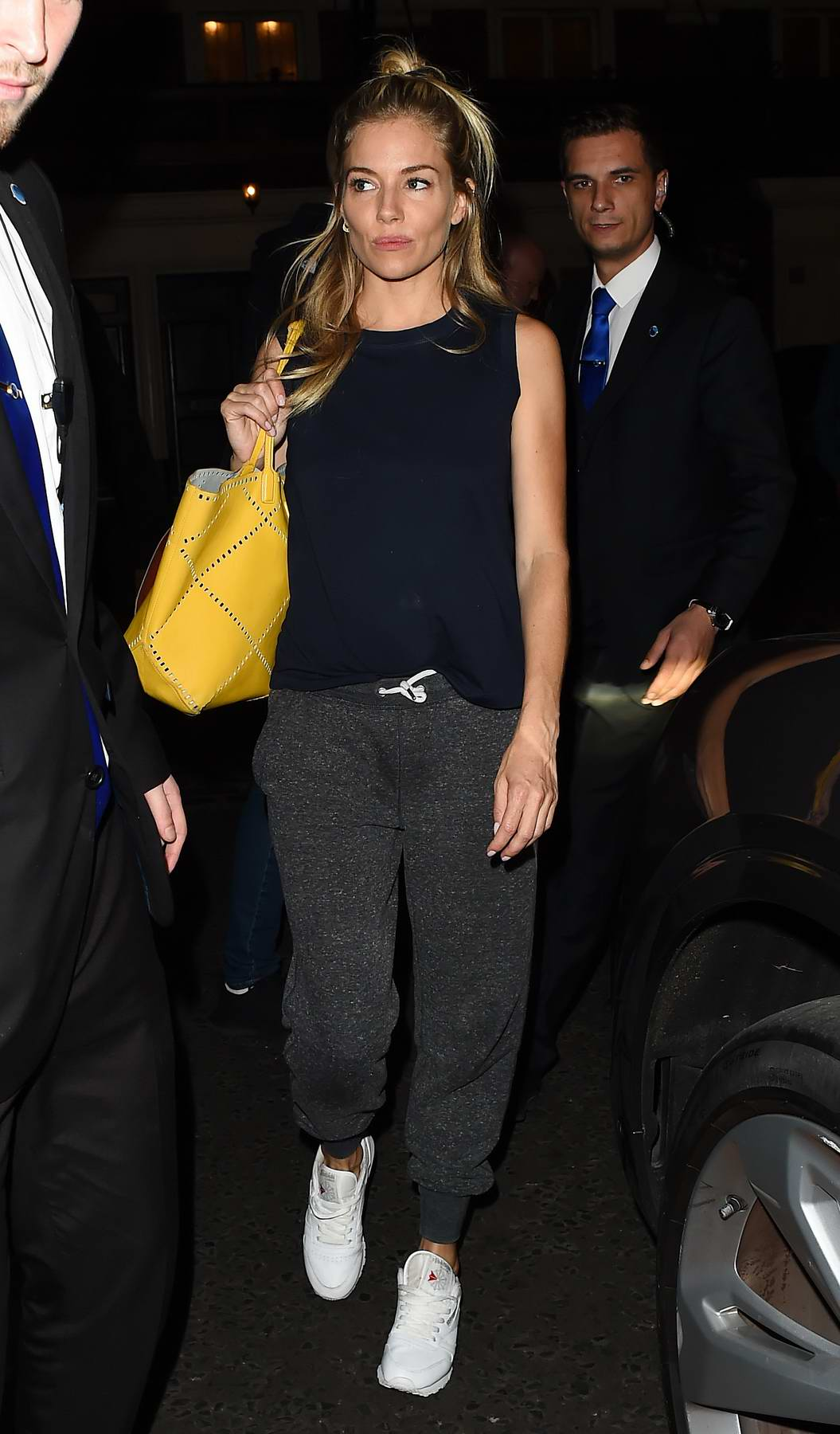 Sienna Miller leaving after her performance at Apollo Theatre in London