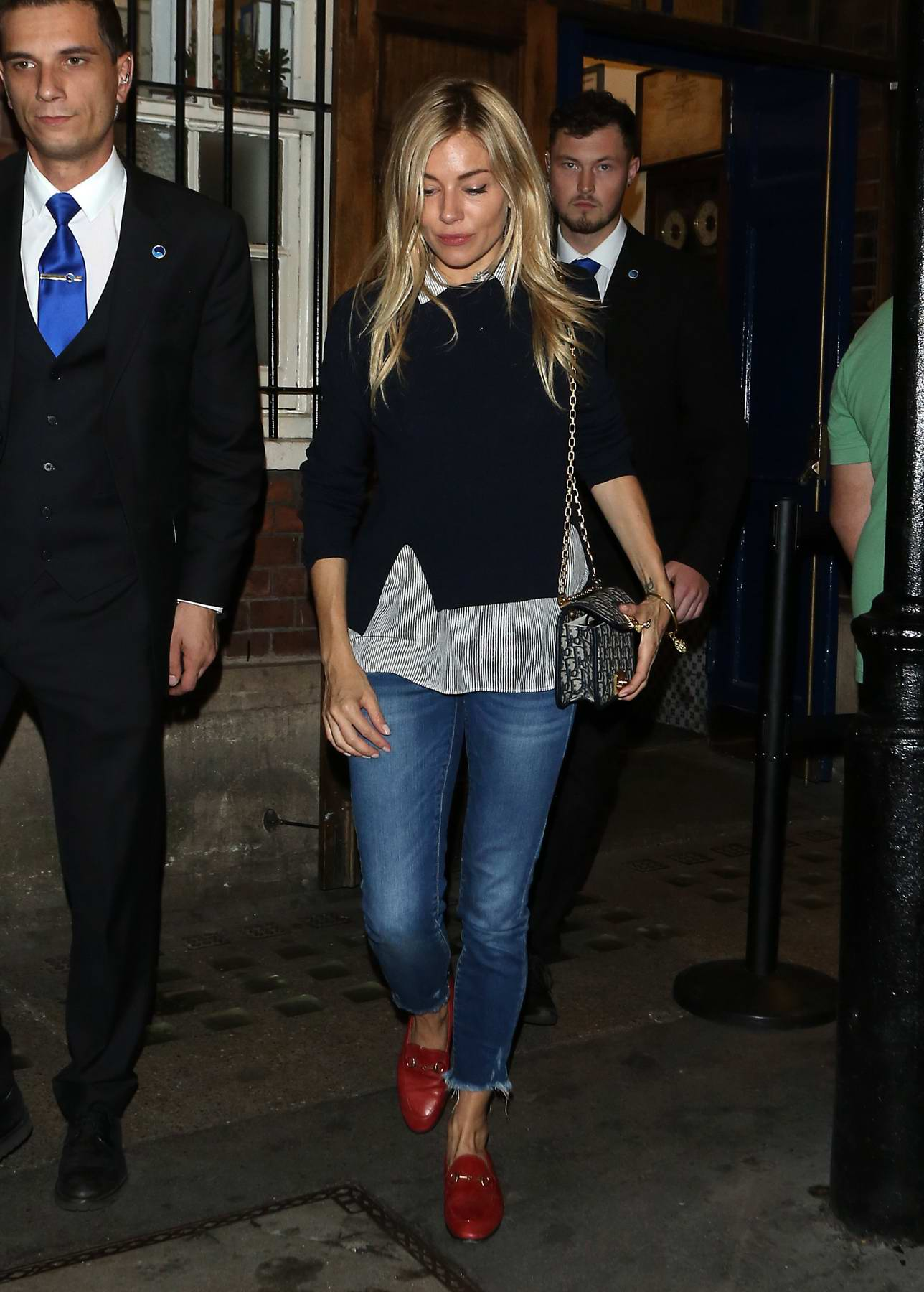 Sienna Miller leaving after performing in Cat on a Hot Tin Roof at the Apollo Theatre in London