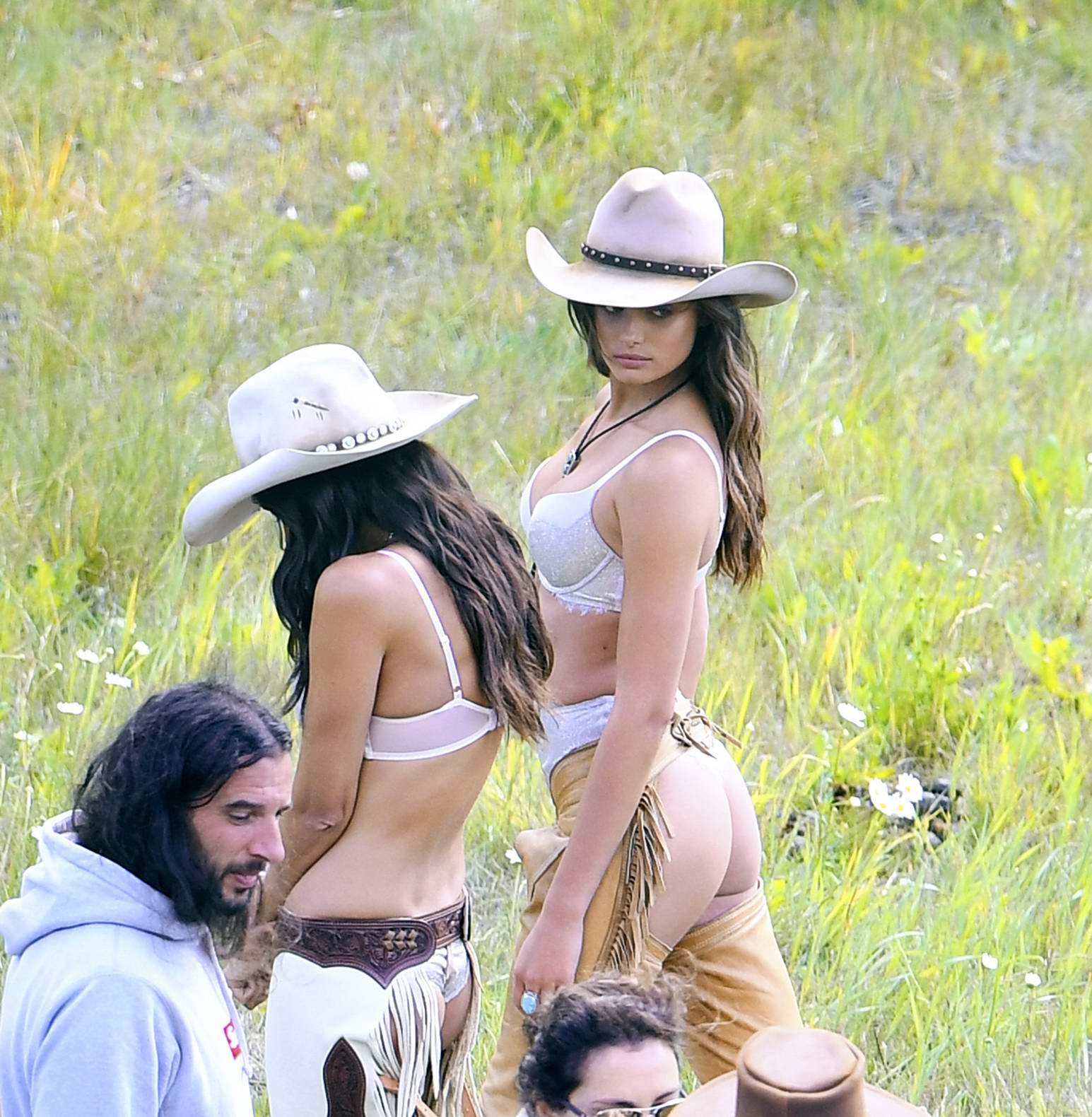 Taylor Hill and Sara Sampaio wearing a cowboy outfit while shooting for Victoria's Secret in Aspen, Colorado