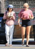 Vanessa Hudgens and a friend get in a morning pilates class before heading to Alfred Coffee for some Iced Coffees in Studio City, Los Angeles