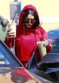 Vanessa Hudgens in all Red as she leaves Pilates and grabs Coffee in Studio City