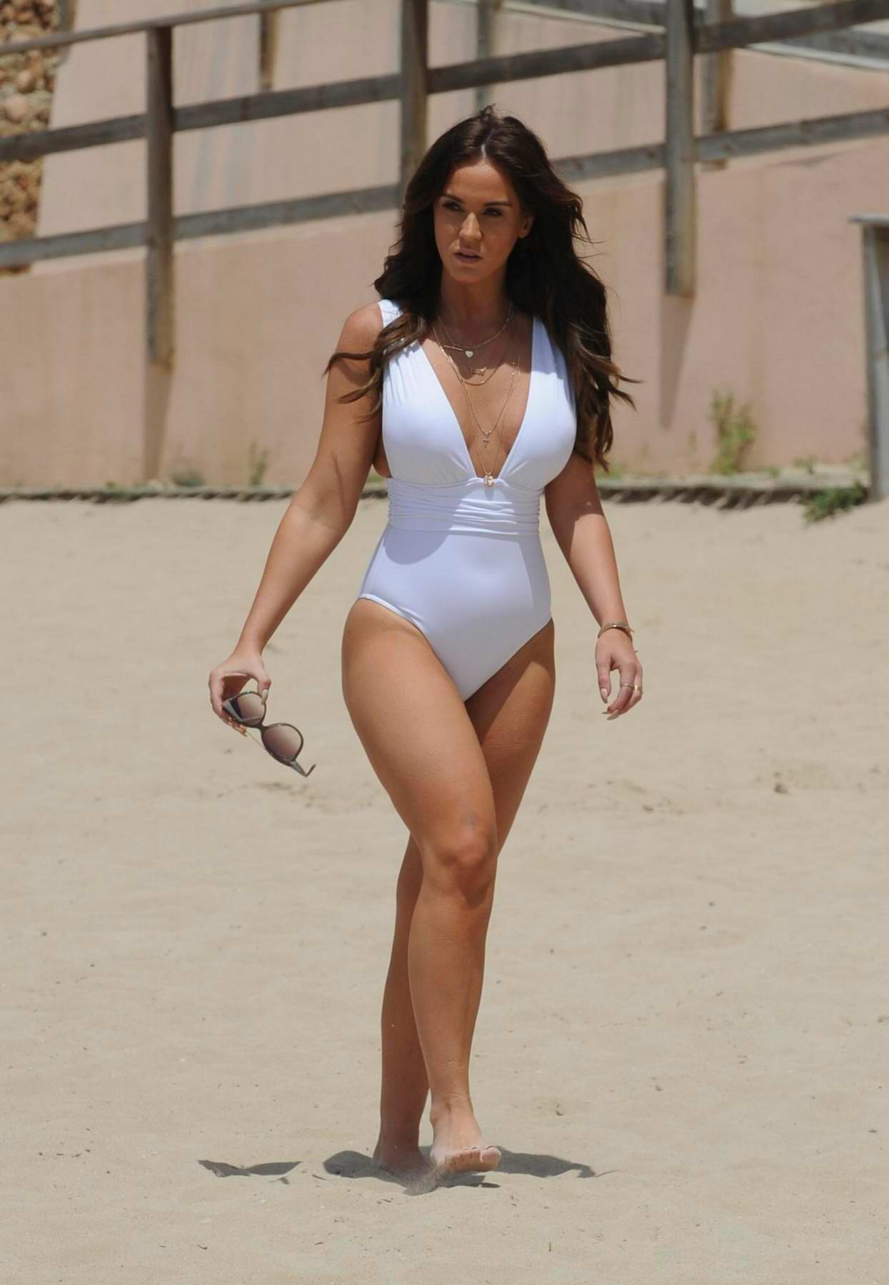 Vicky Pattison in a White Swimsuit enjoying her Vacation in Spain