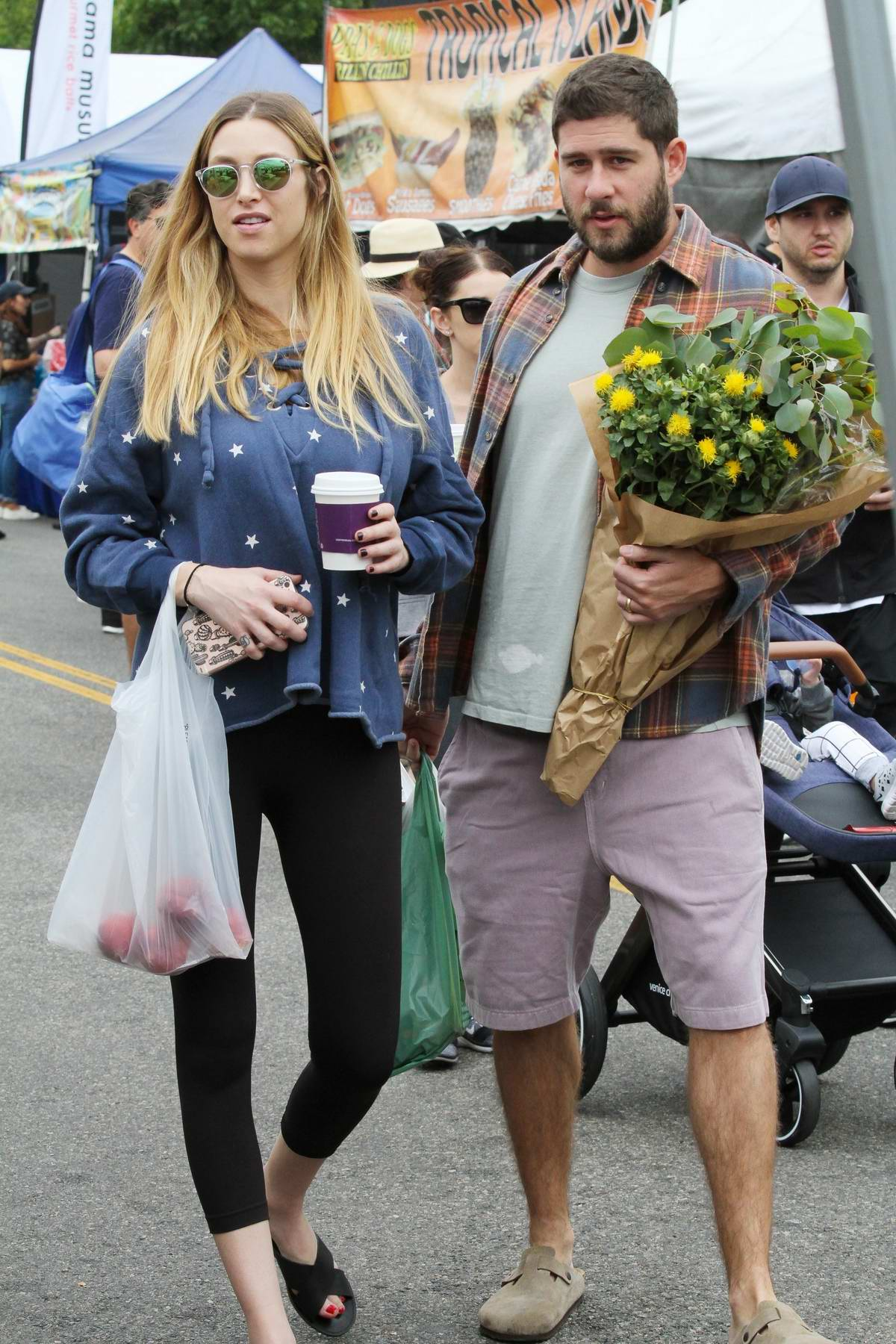 Whitney Port and Tim Rosenman visit the Farmers Market in Studio City, Los Angeles