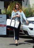 Whitney Port wears a denim jacket as she leaves the salon after getting her hair done in Los Angeles