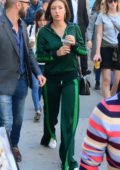 Adele Exarchopoulos leaves press conference in all green in Toronto, Canada