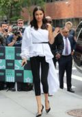 Adriana Lima arrives at the AOL Build Series in New York