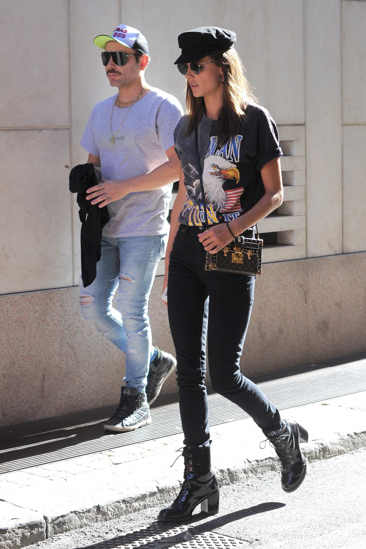 Alessandra Ambrosio out for lunch with friends in Milan during Milan Fashion Week