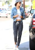 Alessandra Ambrosio stopped by the gas station before meeting a friend in Brentwood, Los Angeles
