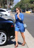 Ali Larter in a denim dress goes shopping in Los Angeles