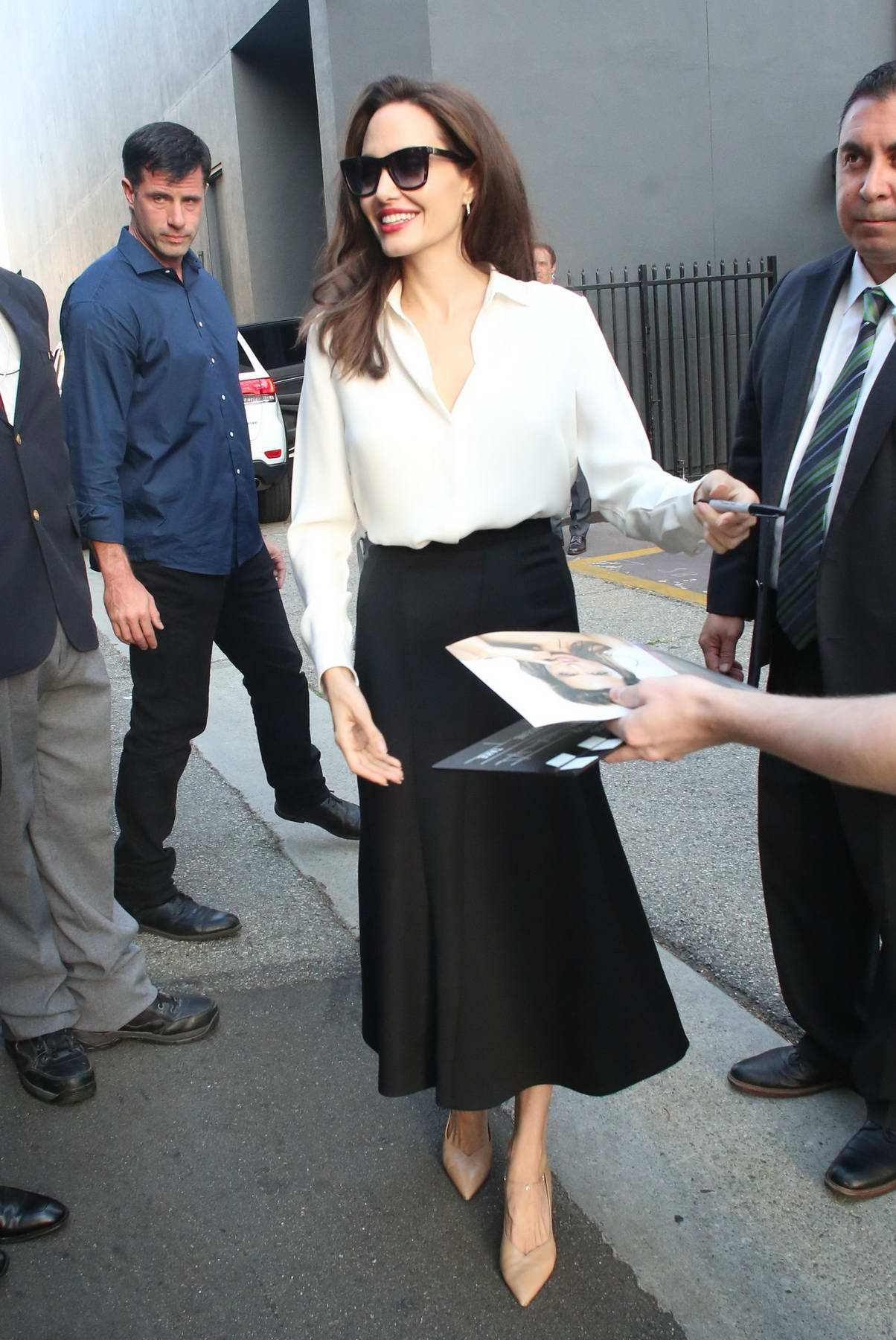 Angelina Jolie leaving the Q&A at the Academy of Motion Arts in Los Angeles