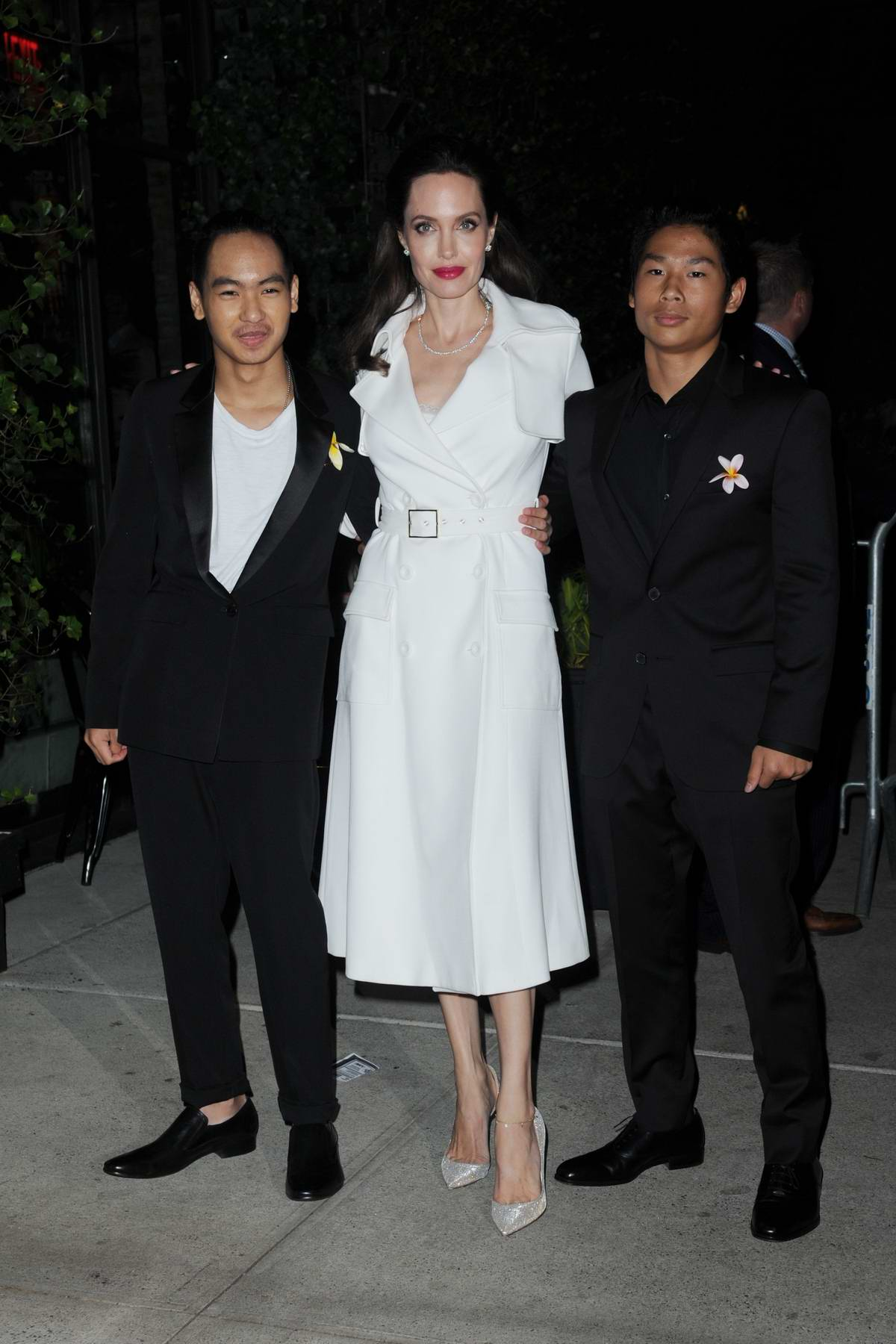 Angelina Jolie with her sons Maddox and Pax arrives for 'First They Killed My Father' premiere party