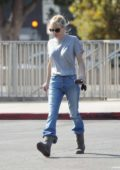 Anna Faris makes an appearance for the first time since filing for divorce with ex husband Chris Pratt leaving a sound stage in Los Angeles