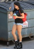 Ariel Winter in a black tee and denim shorts arrives at a salon in West Hollywood, Los Angeles