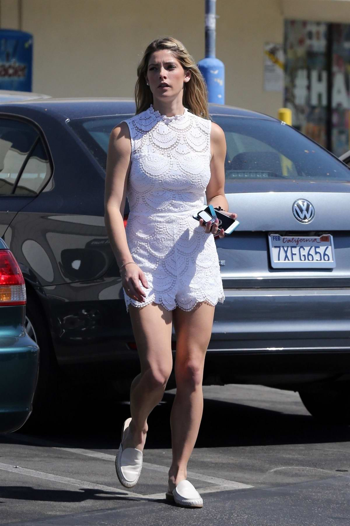 Ashley Greene dressed in a white romper while stopping by Rite Aid in Sherman Oaks, Los Angeles