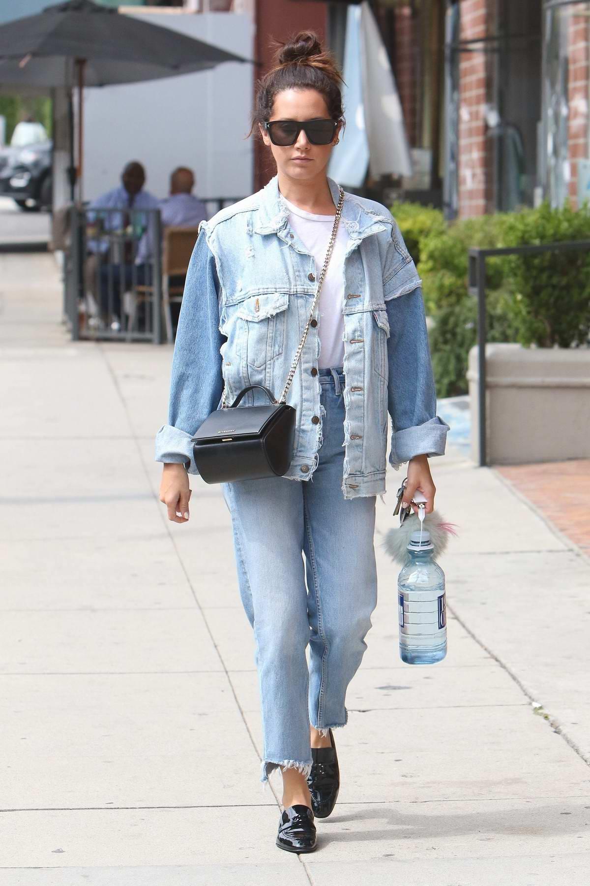 Ashley Tisdale dressed in denim visited Anastasia Beverly Hills in Los Angeles