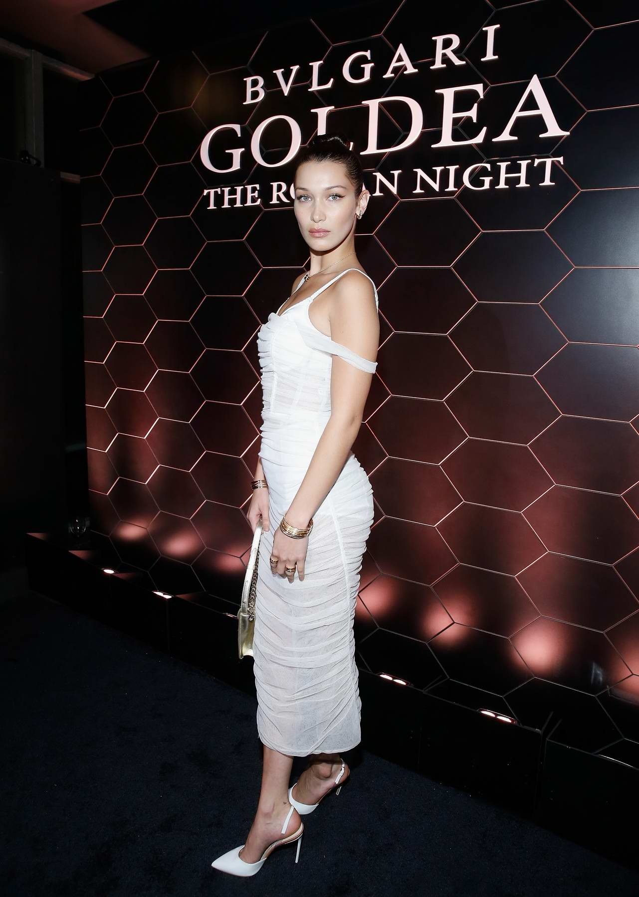 Bella Hadid attends BVLGARI Goldea The Roman Night fragrance launch party during NYFW in New York City