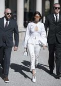 Bella Hadid in all white out and about during Milan Fashion Week in Milan, Italy