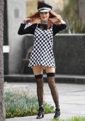 Bella Thorne dressed in a checkered mini skirt in on her way into a Studio in Hollywood, Los Angeles